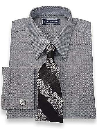 Paul fredrick men 39 s 2 ply cotton straight collar trim fit Straight collar dress shirt