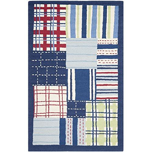Safavieh Safavieh Kids Collection SFK318A Handmade Blue and Multi Cotton Area Rug, 5 feet by 8 feet (5' x 8')