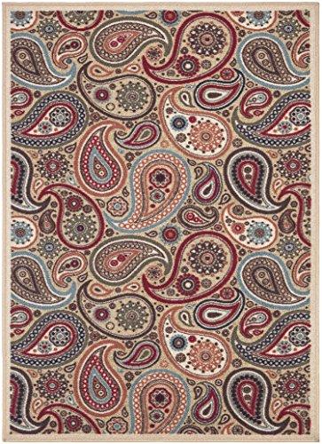 Ottomanson Ottohome Collection Contemporary Paisley Design Area Rug with Non-Skid (Non-Slip) Rubber Backing, Beige