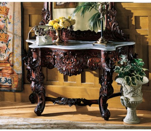 Cheap Hand-carved Solid Mahogany Antique Replica Marble Topped Console Table (GR325)
