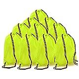 BINGONE Folding Drawstring Bag Nylon Backpack 15.4 x 13.0 inch 10 x Fluorescent Yellow (Color: 10 PCS Fluorescent Yellow, Tamaño: One_Size)