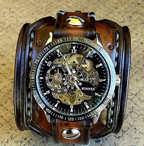 Steampunk Leather Wrist Watch, Skeleton Men's watch, Aged brown Leather Cuff, Bracelet Watch, Watch Cuff	 4