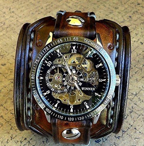 Steampunk Leather Wrist Watch, Skeleton Men's watch, Aged brown Leather Cuff, Bracelet Watch, Watch Cuff 4