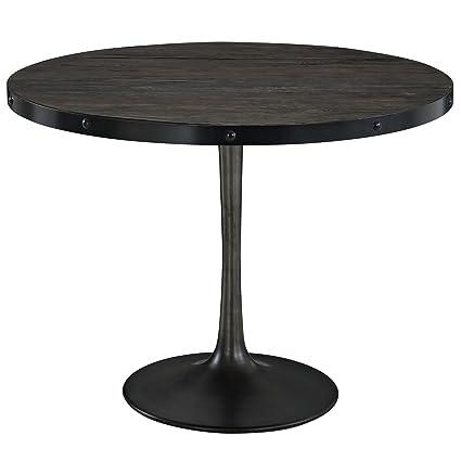 LexMod Drive Wood Top Dining Table Set, Black