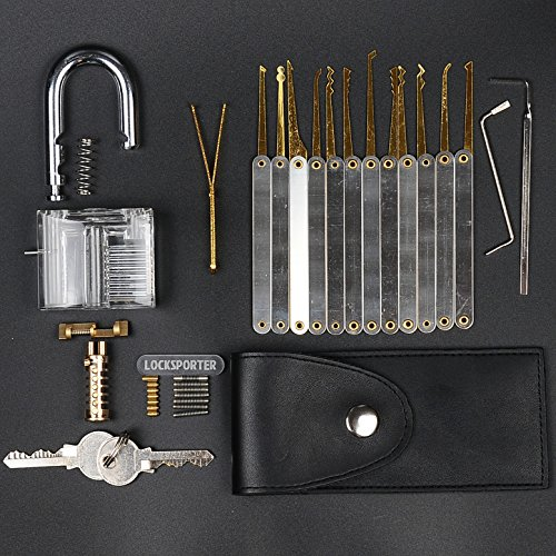 locksporter-15-piece-lock-pick-set-gold-edition-with-clear-padlock-and-ebook-guide