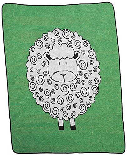 Green 3 Little Lamb Throw Blanket, Green