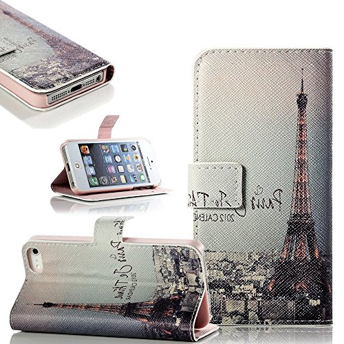 Mylife Antique Pink Paris - Scenic Design - Textured Koskin Faux Leather (Card And Id Holder + Magnetic Detachable Closing) Slim Wallet For Iphone 5/5S (5G) 5Th Generation Smartphone By Apple (External Rugged Synthetic Leather With Magnetic Clip + Interna