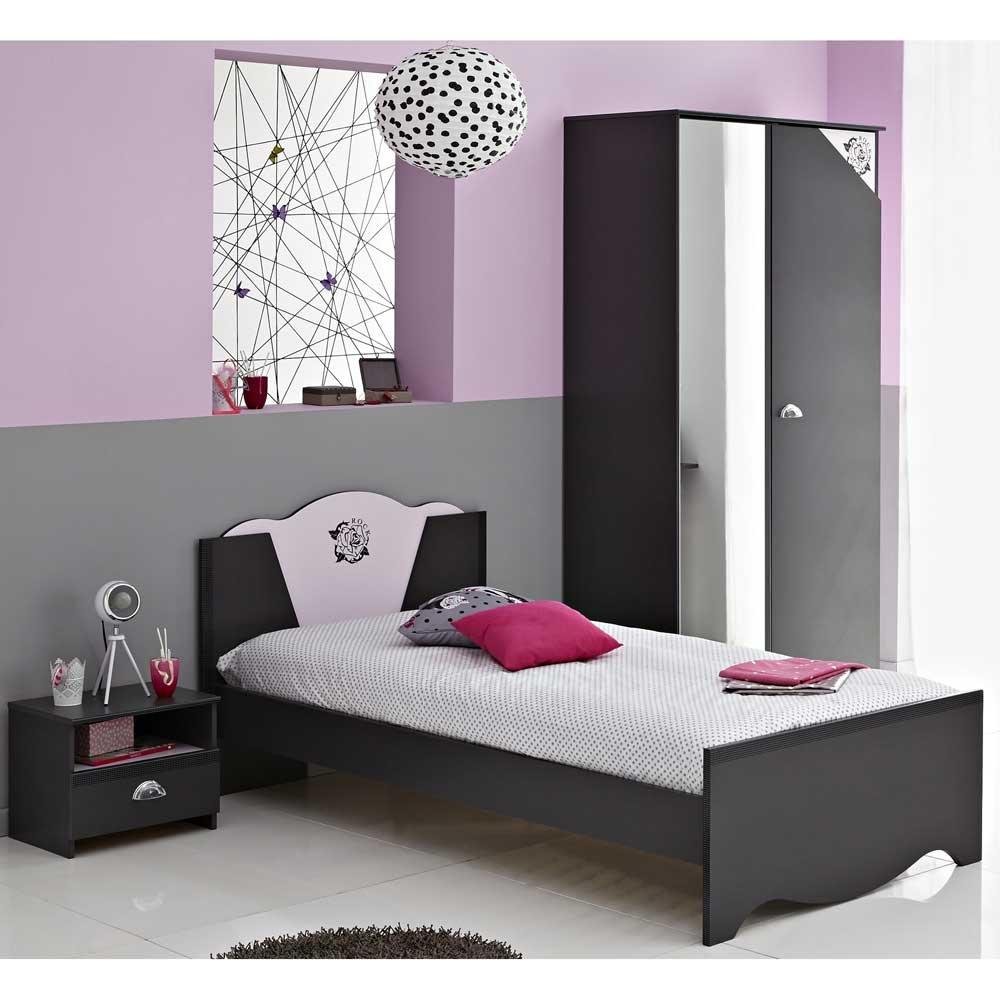 Jugendzimmermöbel Set in Schwarz-Rosa modern (3-teilig) Pharao24