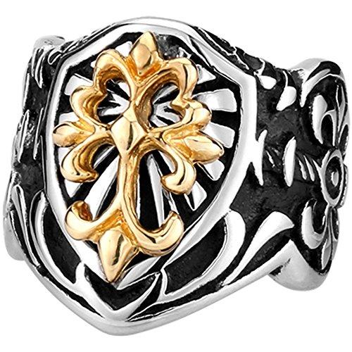 Men's Vintage Gothic Biker Celtic Cross Fleur De Lis Shield Stainless Steel Ring Band Silver Black Gold Size 12 (Men Fleur De Lis Ring compare prices)