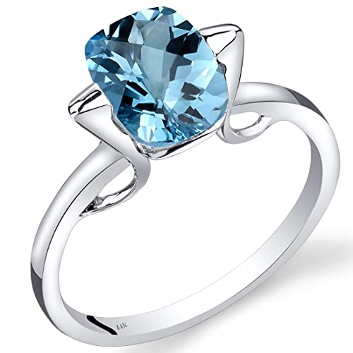 Revoni 14ct White Gold Swiss Blue Topaz Minmalistic Solitaire Ring 2.5 Carats