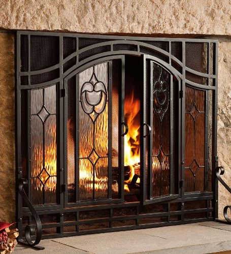 Small Two-Door Floral Fireplace Screen with Beveled Glass Panels, in ...
