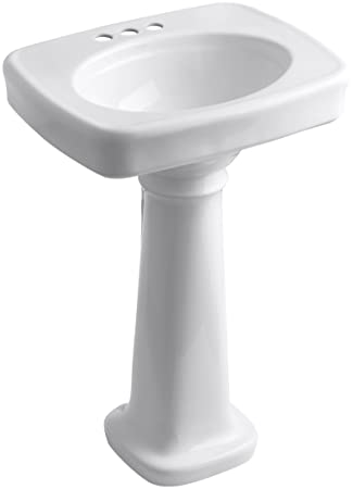 "KOHLER K-2338-4-0 Bancroft Pedestal Bathroom Sink with Centers for 4"" Centers, White"