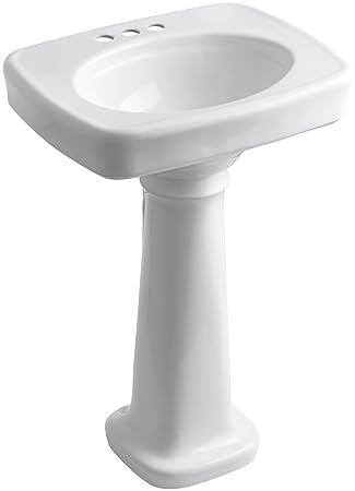 "KOHLER K-2338-4-0 Bancroft Pedestal Bathroom Sink with Centers for 4"" Centers, White"