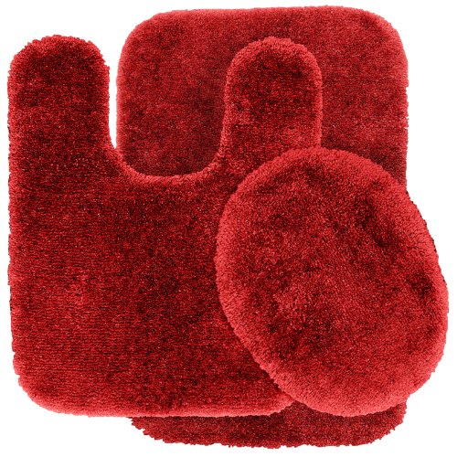 Garland Rug 3-Piece Finest Luxury Ultra Plush Washable Nylon Bathroom Rug Set, Chili Pepper Red front-700966