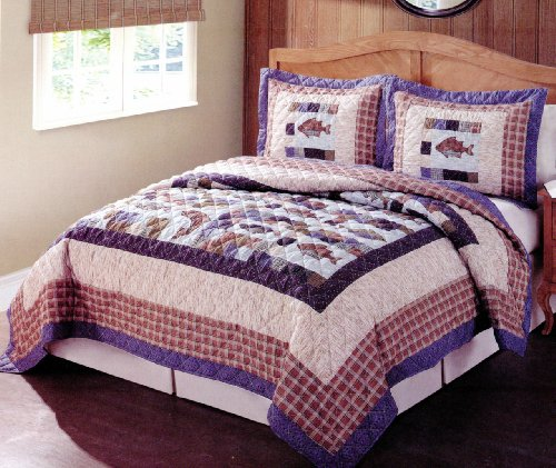 Swimming Up Stream Full / Queen Quilt with 2 Shams