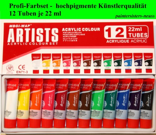 artists farbset 12 tuben je 22 ml in profi qualit t feine acrylfarbe. Black Bedroom Furniture Sets. Home Design Ideas