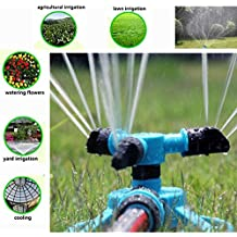 Generic 360 Degree Fully Circle Rotating Water Sprinkler 3 Nozzles Garden Pipe Hose Irrigation System Grass Lawn...