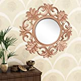 Home Sparkle Engineered Wood Wall Mirror (60 Cm X 1.5 Cm X 60 Cm, Golden, Sh1124)