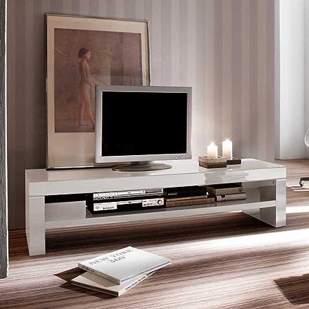 TV Tisch in Weiß Hochglanz 160 cm Pharao24