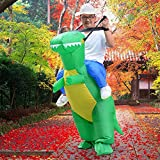 T-Rex Inflatable Dinosaur Costume for Adult Halloween Cosplay Suit Fancy Dress Battery Operated Fun