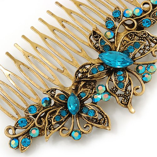Vintage Inspired Teal Blue Swarovski Crystal 'Butterfly' Side Hair Comb In Antique Gold Tone - 105mm 3