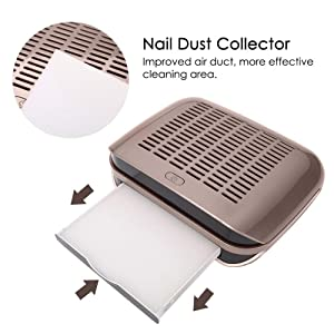 Nail Dust Collector Machine, 68w High Power Salon Vacuum Cleaner DIY Fingernail Art Design Tools Professional Pedicure Manicure Equipment(Brown) (Color: Brown)
