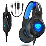 Stereo Gaming Headset for PS4, PC, Xbox One Games, Gamer Over-Ear Headphones with Mic, Noise Canceling, Bass Surround, LED Light for Controller, Lapto