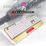 FOME QWERTY New Arrival Aula NIMBLE EDGE Aerospace Alloys Panel Seven color Marquee Adjustable Backlight Suspension Button Golden Edge Professionally USB Wired Gaming Keyboard Golden/White +FOME Gift