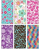"""Premium Birthday or All Occasion Flower Gift Wrap Wrapping Paper for Women, Girls, Kids 6 Different Designs of 8ft X 30"""" Rolls / Per Pack Set Included!"""