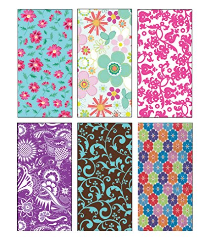 Premium Birthday or All Occasion Flower Gift Wrap Wrapping Paper for Women, Girls, Kids 6 Different Designs of 8ft X 30″ Rolls / Per Pack Set Included!