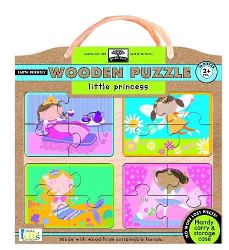 Green Start Wooden Puzzles: Little Princess - Earth Friendly Puzzles with Handy Carry & Storage Case - 1