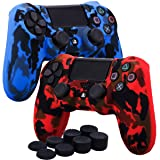 YoRHa Water Transfer Printing Camouflage Silicone Cover Skin Case for Sony PS4/slim/Pro Dualshock 4 controller x 2(red+blue) With Pro thumb grips x 8 (Color: red&blue, Tamaño: water print pack)