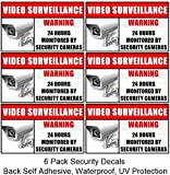 "Weatherproof Outdoor/Indoor (6 Pack) 3.54"" wide X 2.24"" high Home Business Security DVR Camera Video Surveillance System Window Door Warning Alert Sign Sticker Decals **Back Self Adhesive, UV Protected and waterproof **"