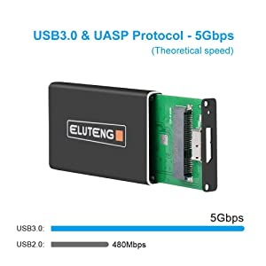 ELUTENG USB mSATA Adapter 3050mm 5Gbps mSATA Enclosure USB 3.0 UASP m-SATA SSD to USB Converter Compatible for Samsung SSD mSATA Solid State Drive (Color: mSATA to USB3 Case)