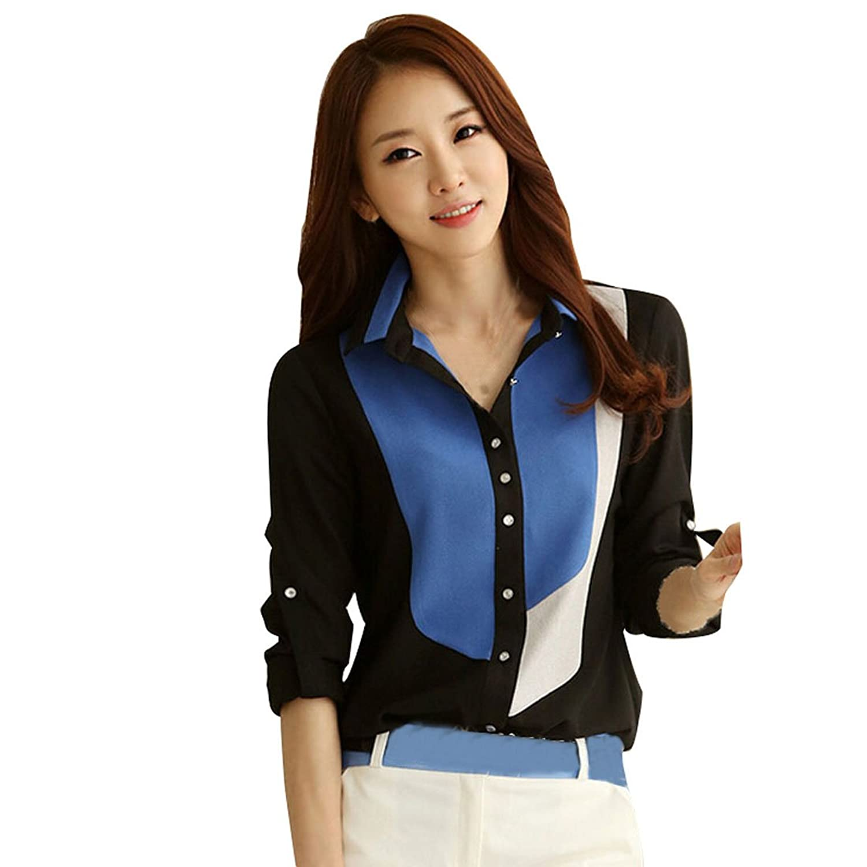 Coromose® Women V-neck Chiffon Long Sleeve Shirt Blouse coromose® women v neck chiffon long sleeve shirt blouse