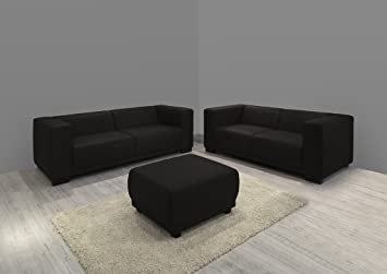 Dreams4Home Polstergarnitur Barce Set 3-Sitzer + 2-Sitzer Sofa Couch Kunstleder braun wahlw. Hocker, Hocker:ohne Hocker