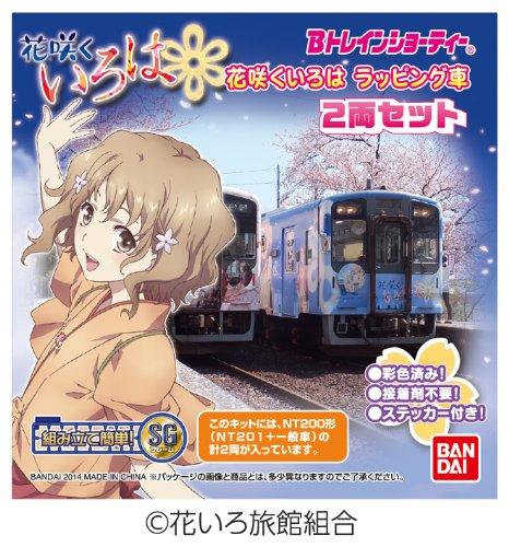 B Train Shorty Noto Railway ' Hanasaku ' wrapping cars (NT201) ( 2 Diesel cars entering)