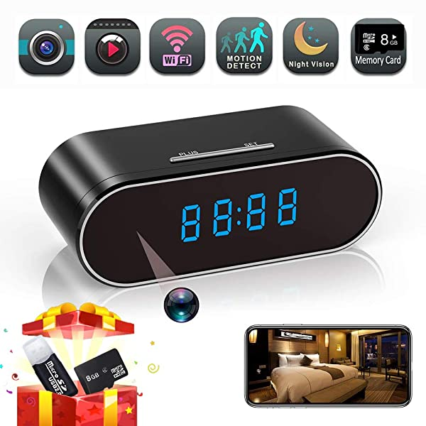 HD 1080P Spy Hidden Camera Clock Wifi Wireless Security Home Office Nanny Camera