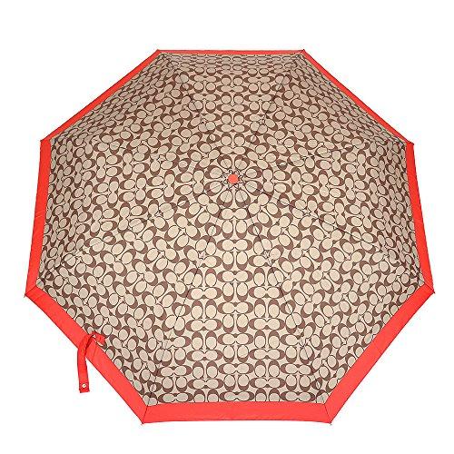 [コーチ] COACH 小物(折りたたみ傘) F63364 カーキ×バーミリオン シグネチャー アンブレラ レディース [アウトレット品] [ブランド] [並行輸入品]