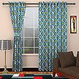 SEVEN STARS 1 Piece Cotton Abstract Door Curtain - 7 ft, Blue