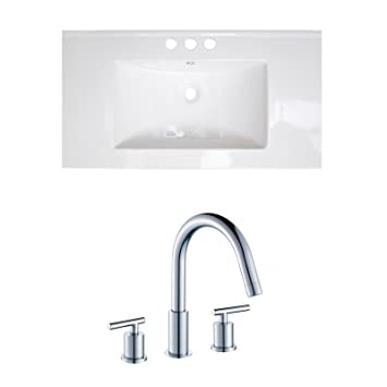 "Jade Bath JB-15874 36"" W x 18"" D Ceramic Top Set with 8"" o.c. CUPC Faucet, White"