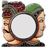 Divraya Wood Villagers Face Wall Mirror (30.48 Cm X 4 Cm X 30.48 Cm)