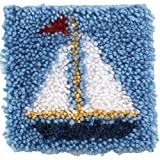 Spinrite Acrylic Blend Wonderart Latch Hook Kit 8 inch x 8 inch Sailboat