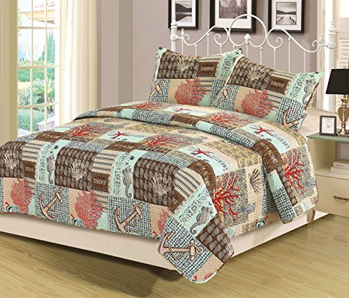 QueenKing-Quilt-Set-Bedspread-Coverlet-Blue-Nautical-Anchor-Coral