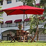 Abba Patio 7 by 9 - Feet Rectangular Solar Powered Aluminum Umbrella with Tilt and 28 Solar LED Lights, Dark Red