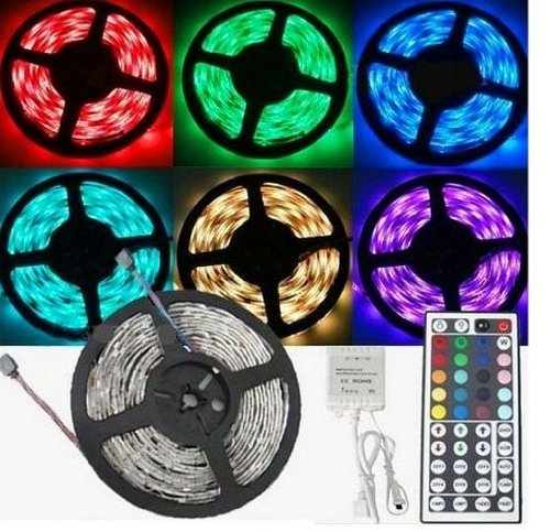 DVW 16.4ft 5m Non-waterproof Flexible Strip 300leds Color Changing RGB Smd5050 LED Light Strip Kit RGB +12v 5a Power Supply +44key Remote