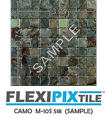 FLEXIPIXTILE, SAMPLE, Aluminum Mosaic Tile, Peel & Stick, Kitchen Backsplash, Accent Wall, CAMO