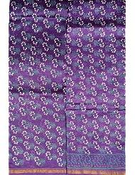 Exotic India Prism-Violet Block-Printed Chanderi Salwar Kameez Fa - Prism-Violet