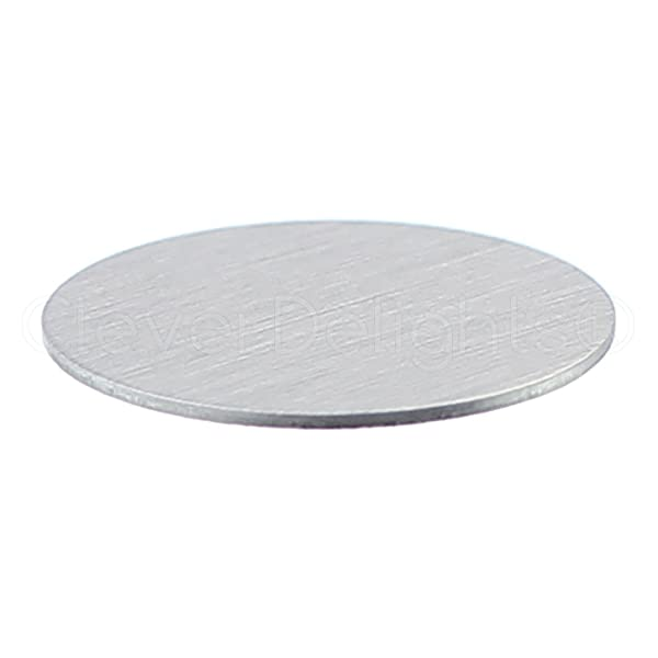 25 Pack - CleverDelights 1 Round Stamping Blanks - 20 Gauge (.031) Aluminum - Circle Discs Tags (Color: Silver, Tamaño: 1 Inch)