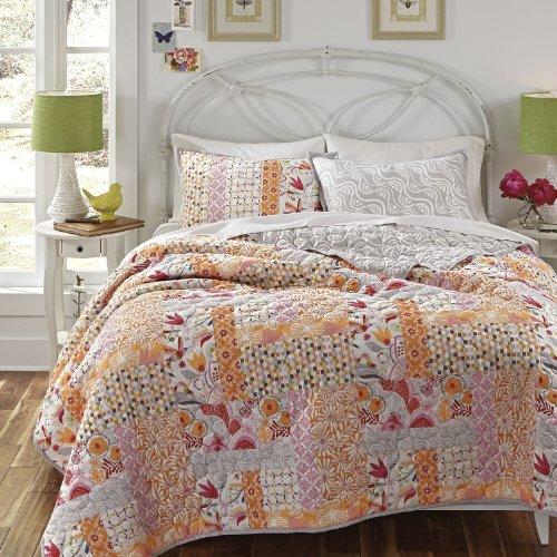 Dream Factory Kate Spain Daydream Pink Cotton Quilt Sham Set, Twin, Orange
